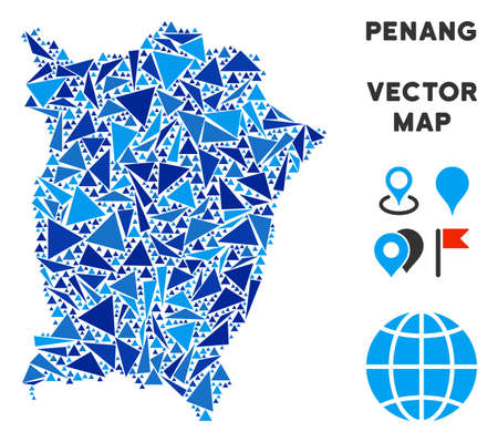 Penang Island map mosaic of blue triangle elements in variable sizes and shapes. Vector polygons are arranged into geographic Penang Island map mosaic.