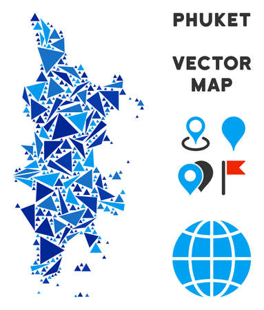 Phuket map collage of blue triangle items in various sizes and shapes. Vector triangles are combined into geographic Phuket map collage. Geometric abstract vector illustration in blue color shades. Иллюстрация