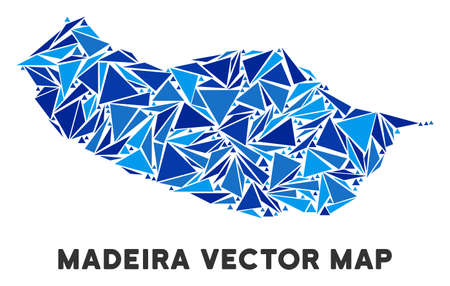 Portugal Madeira Island map mosaic of blue triangle elements in variable sizes and shapes. Vector triangles are organized into geographic Portugal Madeira Island map illustration. Illustration