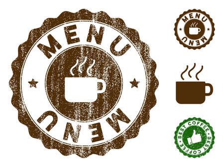 Menu medallion stamp. Vector seal print imitation with grunge effect and coffee color. Brown rubber seal stamp with grunge design of Menu caption.