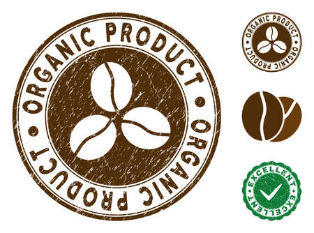 Organic Product brown stamp. Vector seal print imitation with grunge effect and coffee color. Round vector rubber seal stamp with grunge design of Organic Product label. Bonus excellent mark. Иллюстрация