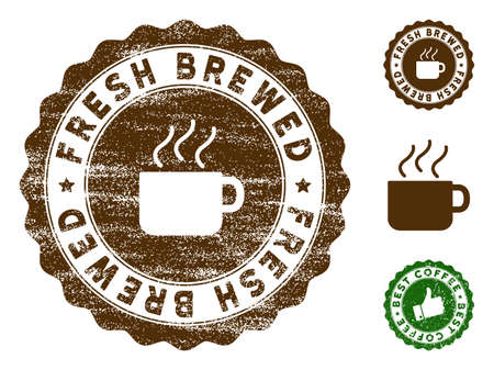 Fresh Brewed medallion stamp. Vector seal watermark imitation with grunge surface and coffee color. Brown rubber seal stamp with grunge design of Fresh Brewed title.
