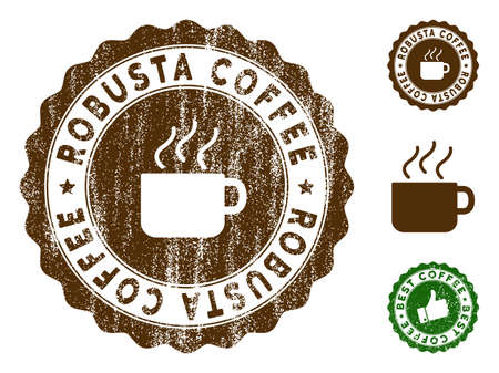 Robusta Coffee medallion stamp. Vector seal watermark imitation with grunge effect and coffee color. Brown rubber seal stamp with grunge design of Robusta Coffee title.