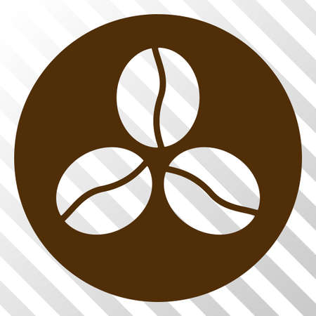 Coffee beans vector icon. An illustration style is a flat iconic symbol on a hatched transparent background.