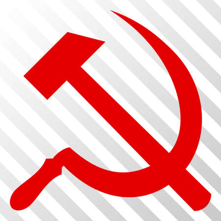 Sickle and hammer vector icon. An illustration style is a flat iconic symbol on a hatch transparent background.