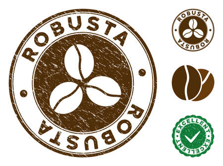 Robusta brown stamp. Vector seal print imitation with grunge style and coffee color. Round vector rubber seal stamp with grunge design of Robusta caption. Bonus excellent mark. Illustration