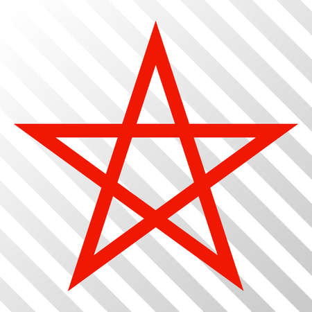 Star pentagram vector pictogram. An illustration style is a flat iconic symbol on a hatch transparent background.