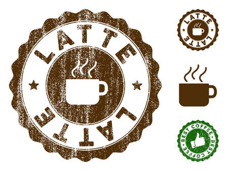 Latte medallion stamp. Vector seal imprint imitation with grunge effect and coffee color. Brown rubber seal stamp with grunge design of Latte caption.