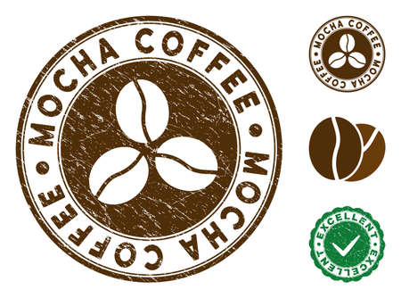 Mocha Coffee brown stamp. Vector seal watermark imitation with grunge texture and coffee color. Round vector rubber seal stamp with grunge design of Mocha Coffee label. Bonus excellent mark. Иллюстрация