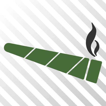 Cannabis cigarette vector icon. An illustration style is a flat iconic symbol on a hatched transparent background.