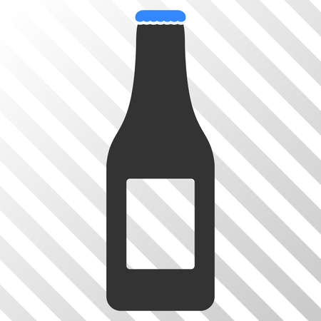 Beer bottle vector icon. An illustration style is a flat iconic symbol on a hatched transparent background.