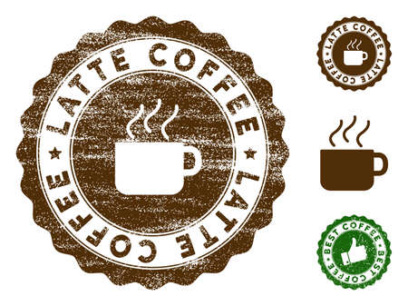 Latte Coffee medallion stamp. Vector seal watermark imitation with grunge surface and coffee color. Brown rubber seal stamp with grunge design of Latte Coffee caption.