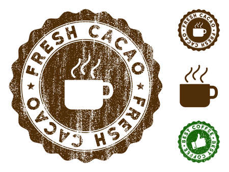 Fresh Cacao medallion stamp. Vector seal print imitation with grunge style and coffee color. Brown rubber seal stamp with grunge design of Fresh Cacao label.