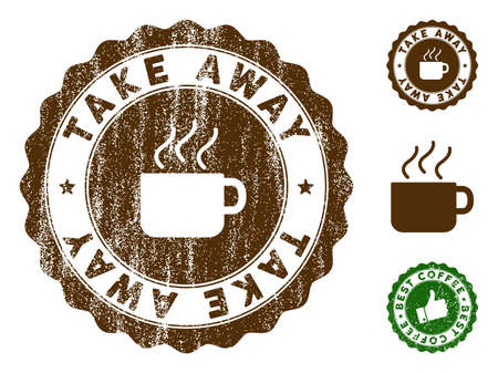 Take Away medallion stamp. Vector seal imprint imitation with grunge effect and coffee color. Brown rubber seal stamp with grunge design of Take Away caption. Illustration