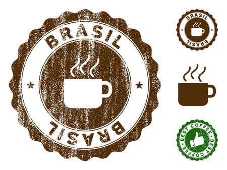 Brasil medallion stamp. Vector seal imprint imitation with grunge effect and coffee color. Brown rubber seal stamp with grunge design of Brasil text.