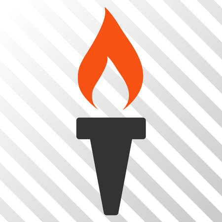Fire torch vector icon. An illustration style is a flat iconic symbol on a hatched transparent background.
