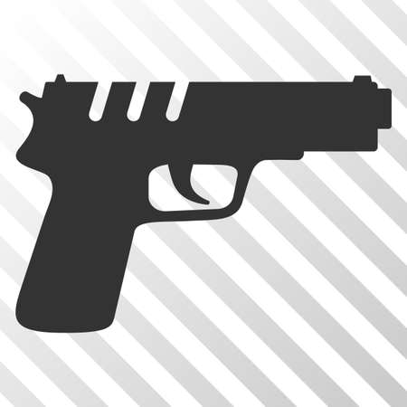 Pistol gun vector pictograph. An illustration style is a flat iconic symbol on a hatch transparent background. Illustration