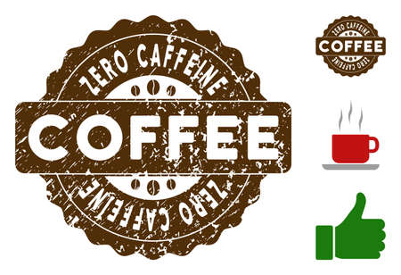Zero Caffeine award medallion stamp. Vector seal with grunge effect and coffee color for rubber stamps imitations. Brown rubber seal stamp with grunge design of Zero Caffeine caption. Illustration