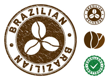 Brazilian brown stamp. Vector seal watermark imitation with grunge style and coffee color. Round vector rubber seal stamp with grunge design of Brazilian title. Bonus excellent mark. Иллюстрация