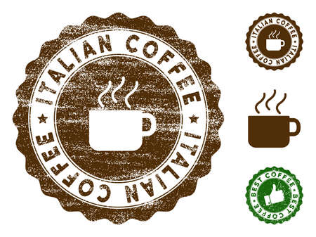 Italian Coffee medallion stamp. Vector seal print imitation with grunge style and coffee color. Brown rubber seal stamp with grunge design of Italian Coffee title. Иллюстрация