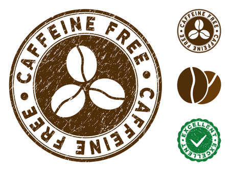 Caffeine Free brown stamp. Vector seal print imitation with grunge style and coffee color. Round vector rubber seal stamp with grunge design of Caffeine Free label. Bonus excellent mark.