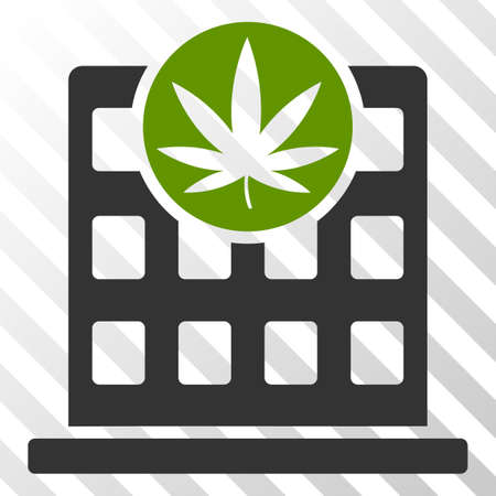 Cannabis building vector pictogram. An illustration style is a flat iconic symbol on a hatched transparent background.