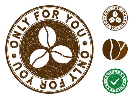 Only For You brown stamp. Vector seal print imitation with grunge texture and coffee color. Round vector rubber seal stamp with grunge design of Only For You label. Bonus excellent mark.