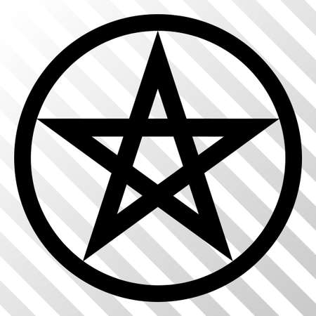 Star pentacle vector pictograph. An illustration style is a flat iconic symbol on a hatched transparent background.