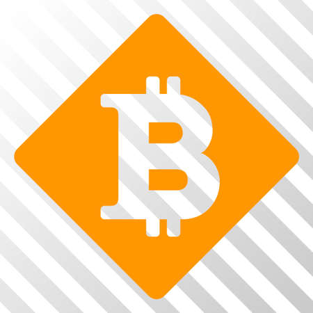 Bitcoin rhombus vector pictograph. An illustration style is a flat iconic symbol on a hatched transparent background. Ilustracja
