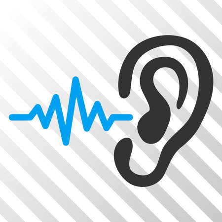 Hearing vector pictogram. An illustration style is a flat iconic symbol on a hatched transparent background.
