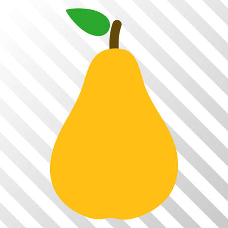 Pear vector icon. An illustration style is a flat iconic symbol on a hatched transparent background.