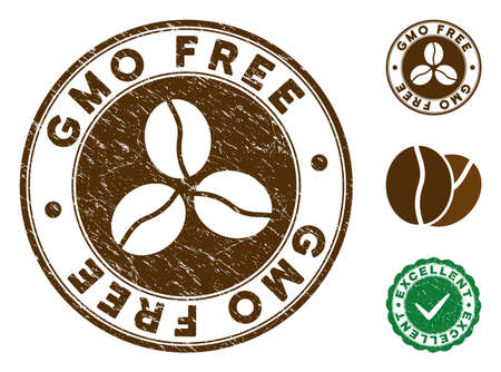 GMO Free brown stamp. Vector seal watermark imitation with grunge surface and coffee color. Round vector rubber seal stamp with grunge design of GMO Free label. Bonus excellent mark. Vettoriali