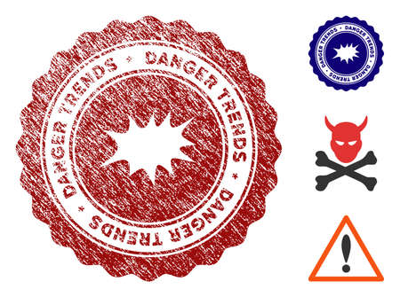 Bang Danger Trends grunge round stamp with warning icon. Vector red seal with distress texture for rubber stamps imitations. Rubber seal stamp with grunge design of bang danger trends.