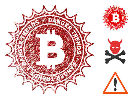Bitcoin Danger Trends grunge round stamp with warning icon. Vector red seal with scratched texture for rubber stamps imitations. Rubber seal stamp with grunge design of bitcoin danger trends. Illustration