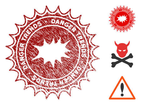 Boom Danger Trends grunge round stamp with warning icon. Vector red seal with distress effect for rubber stamps imitations. Rubber seal stamp with grunge design of boom danger trends.