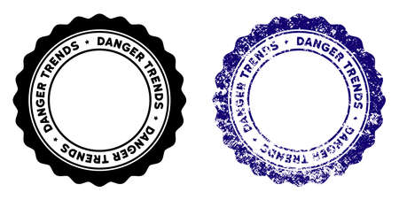 Danger Trends round stamp in grunge blue and clean black styles. Rubber seal stamp with grunge design of Danger Trends. Vector seal with distress style for rubber stamps imitations.