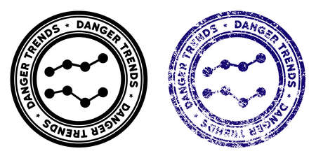 Danger Trends round stamp in grunge blue and clean black styles. Rubber seal stamp with grunge design of Danger Trends. Vector seal with grungy effect for rubber stamps imitations. Çizim