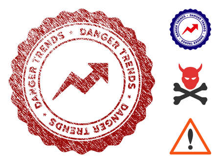Danger Trends grunge round stamp with warning icon. Vector red seal with grungy surface for rubber stamps imitations. Rubber seal stamp with grunge design of danger trends. Vecteurs