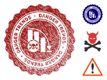 Danger Trends grunge round stamp with warning icon. Vector red seal with grungy style for rubber stamps imitations. Rubber seal stamp with grunge design of danger trends. Vecteurs