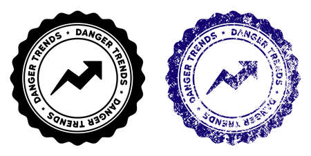 Danger Trends round stamp in grunge blue and clean black styles. Rubber seal stamp with grunge design of Danger Trends. Vector seal with scratched effect for rubber stamps imitations.