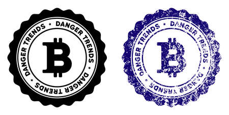 Bitcoin Danger Trends round stamp in grunge blue and clean black styles. Rubber seal stamp with grunge design of Bitcoin Danger Trends. Vector seal with distress style for rubber stamps imitations. Vector Illustration