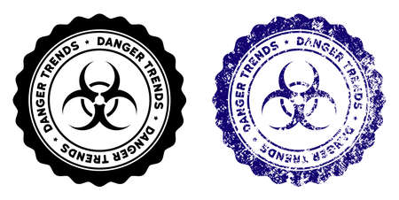 Biohazard Danger Trends round stamp in grunge blue and clean black styles. Rubber seal stamp with grunge design of Biohazard Danger Trends.