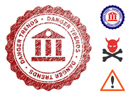 Bank Danger Trends grunge round stamp with warning icon. Vector red seal with distress effect for rubber stamps imitations. Rubber seal stamp with grunge design of bank danger trends.