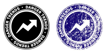 Danger Trends round stamp in grunge blue and clean black styles. Rubber seal stamp with grunge design of Danger Trends. Vector seal with distress surface for rubber stamps imitations. Vecteurs