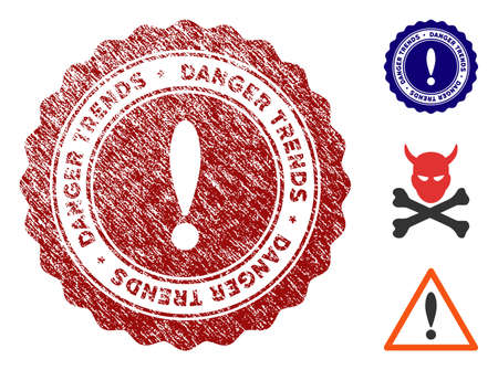 Danger Trends grunge round stamp with warning icon. Vector red seal with grungy texture for rubber stamps imitations. Rubber seal stamp with grunge design of danger trends. 일러스트