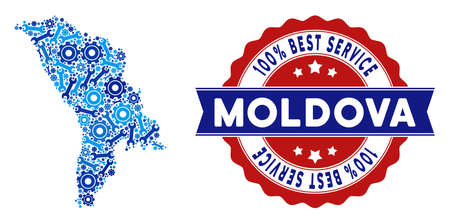 Service Moldova map mosaic of service tools. Abstract geographic scheme in blue colors and best service reward. Vector Moldova map is shaped of gears and wrenches. Concept of mechanic job. Ilustración de vector