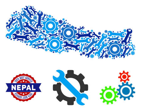 Repair service Nepal map mosaic of service tools. Abstract territory plan in blue colors and best service stamp. Vector Nepal map is made of gears and wrenches. Concept of technical service. Ilustração
