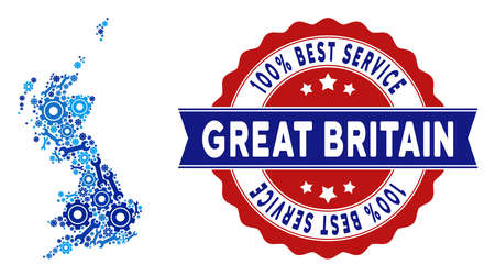 Repair service Great Britain map composition of service tools. Abstract geographic scheme in blue colors and best service badge. Vector Great Britain map is organized of cogwheels and spanners.