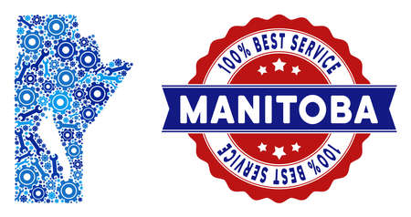 Service Manitoba Province map composition of service tools. Abstract geographic plan in blue colors and best service reward. Vector Manitoba Province map is done of gear wheels and wrenches. 일러스트