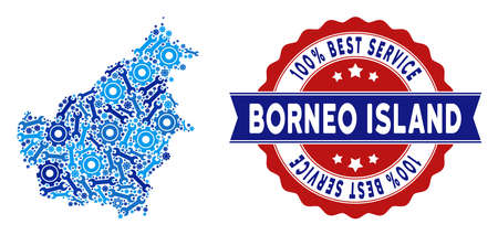 Service Borneo Island map collage of service tools. Abstract territory scheme in blue colors and best service badge. Vector Borneo Island map is constructed of gearwheels and wrenches. Illustration